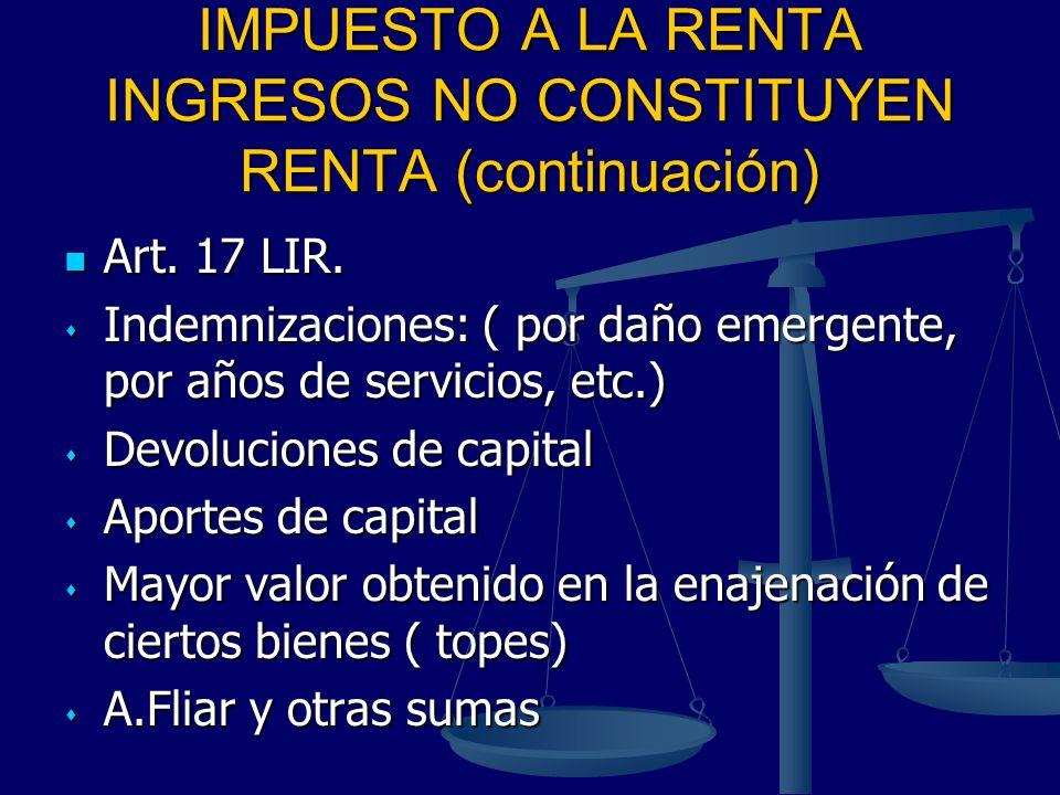 IMPUESTO A LA RENTA INGRESOS NO CONSTITUYEN RENTA (continuación)