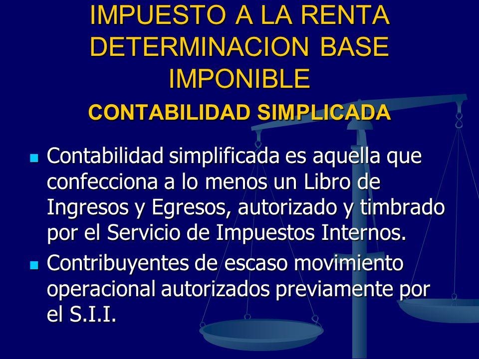 IMPUESTO A LA RENTA DETERMINACION BASE IMPONIBLE CONTABILIDAD SIMPLICADA
