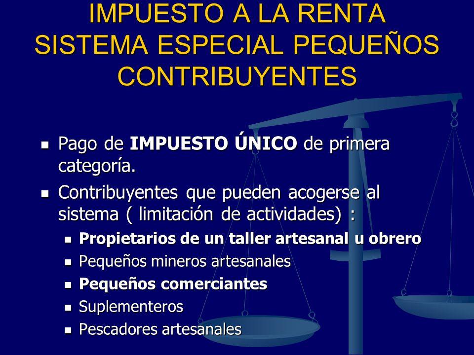 IMPUESTO A LA RENTA SISTEMA ESPECIAL PEQUEÑOS CONTRIBUYENTES