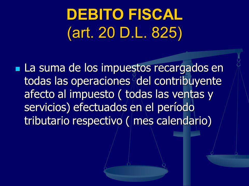 DEBITO FISCAL (art. 20 D.L. 825)