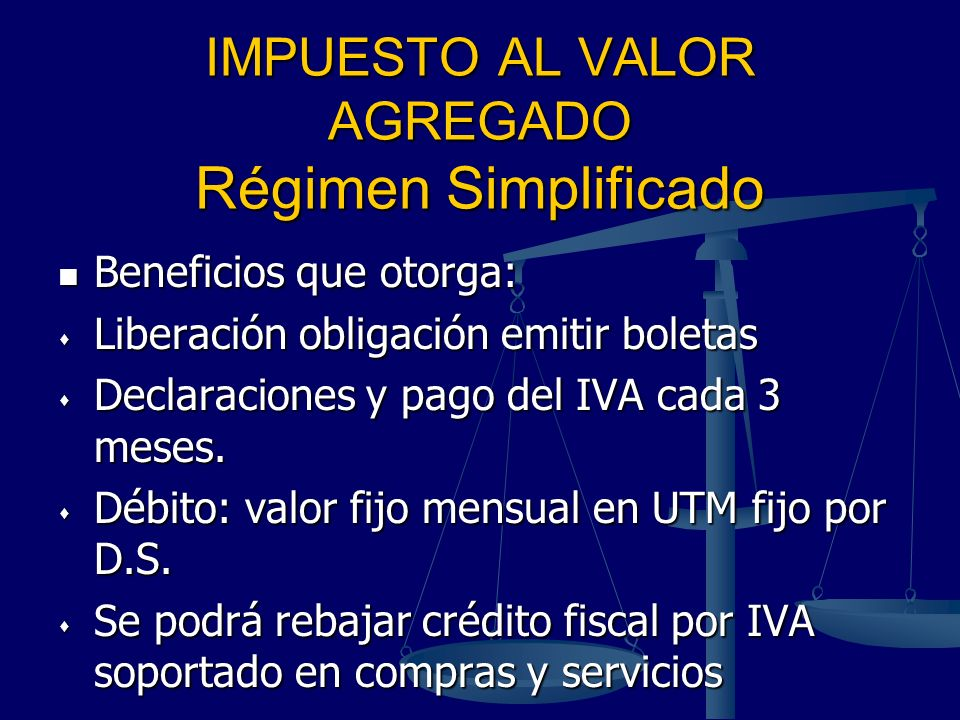 IMPUESTO AL VALOR AGREGADO Régimen Simplificado