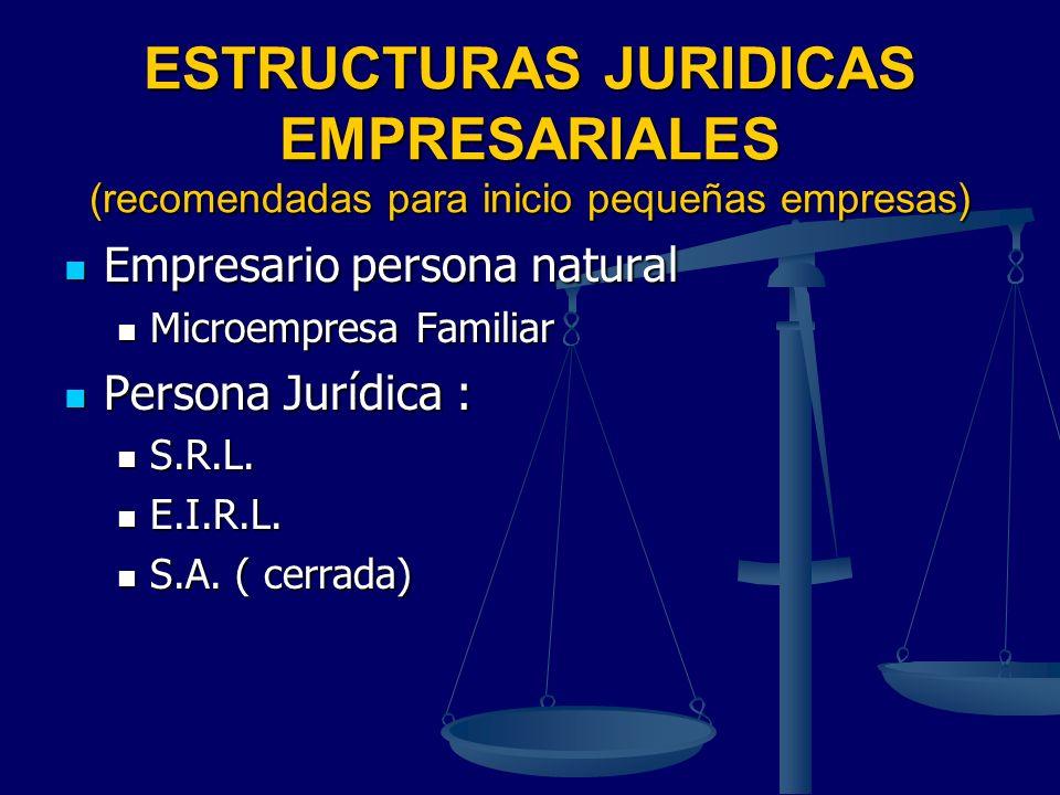 ESTRUCTURAS JURIDICAS EMPRESARIALES (recomendadas para inicio pequeñas empresas)
