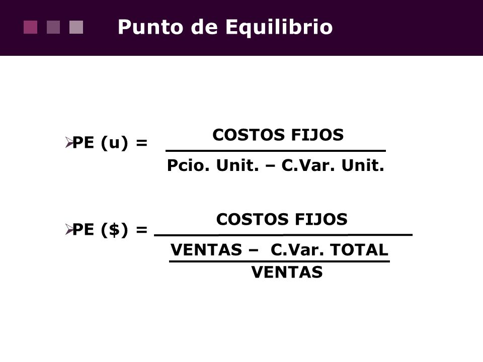 Punto de Equilibrio COSTOS FIJOS PE (u) = Pcio. Unit. – C.Var. Unit.