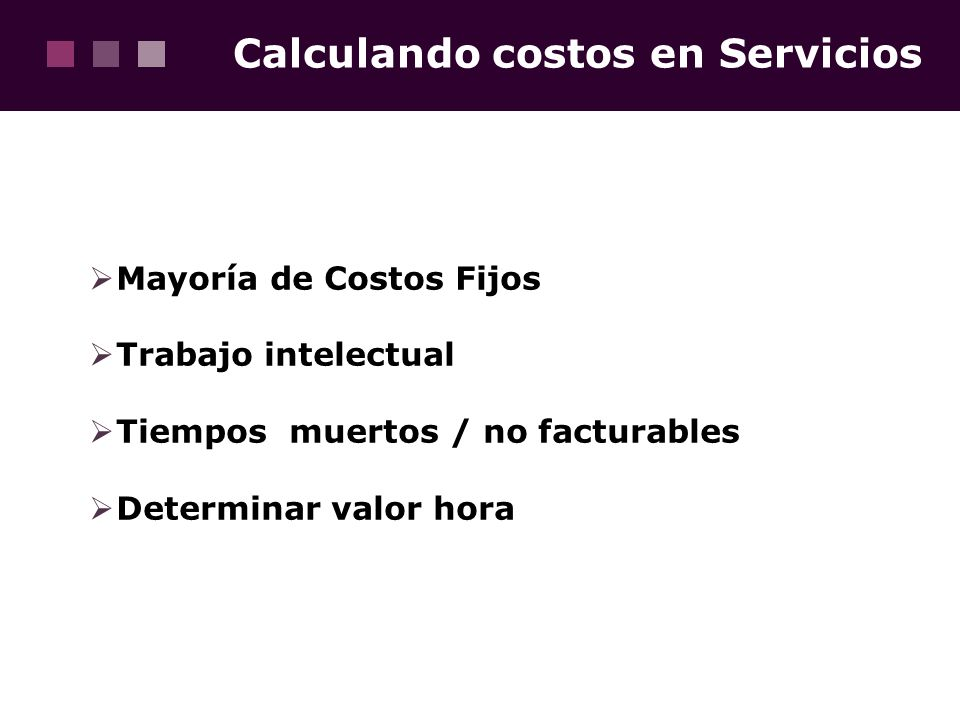 Calculando costos en Servicios