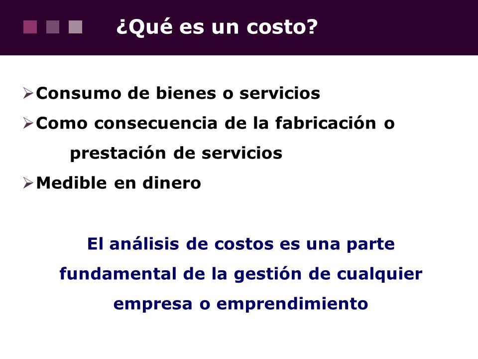 ¿Qué es un costo Consumo de bienes o servicios