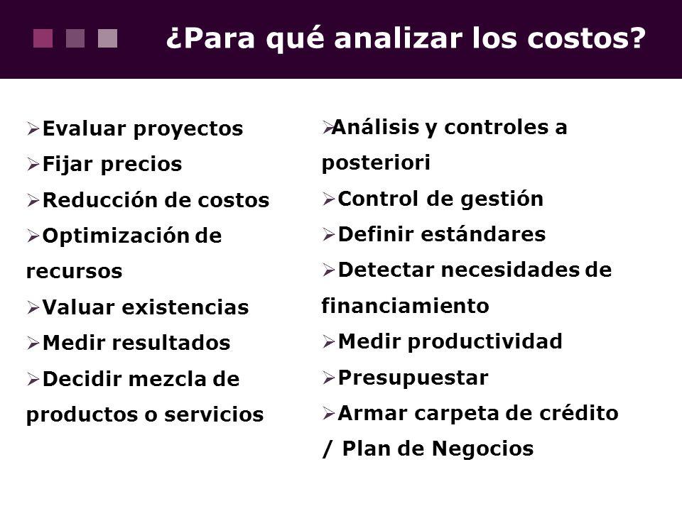 ¿Para qué analizar los costos
