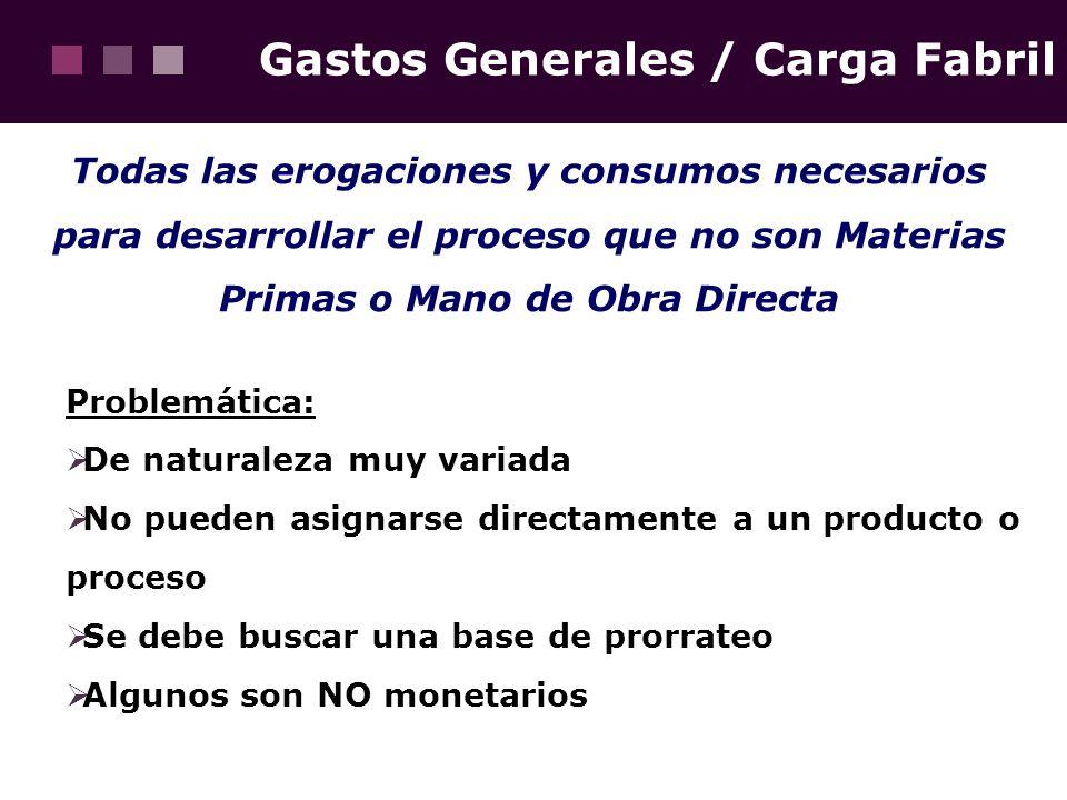 Gastos Generales / Carga Fabril