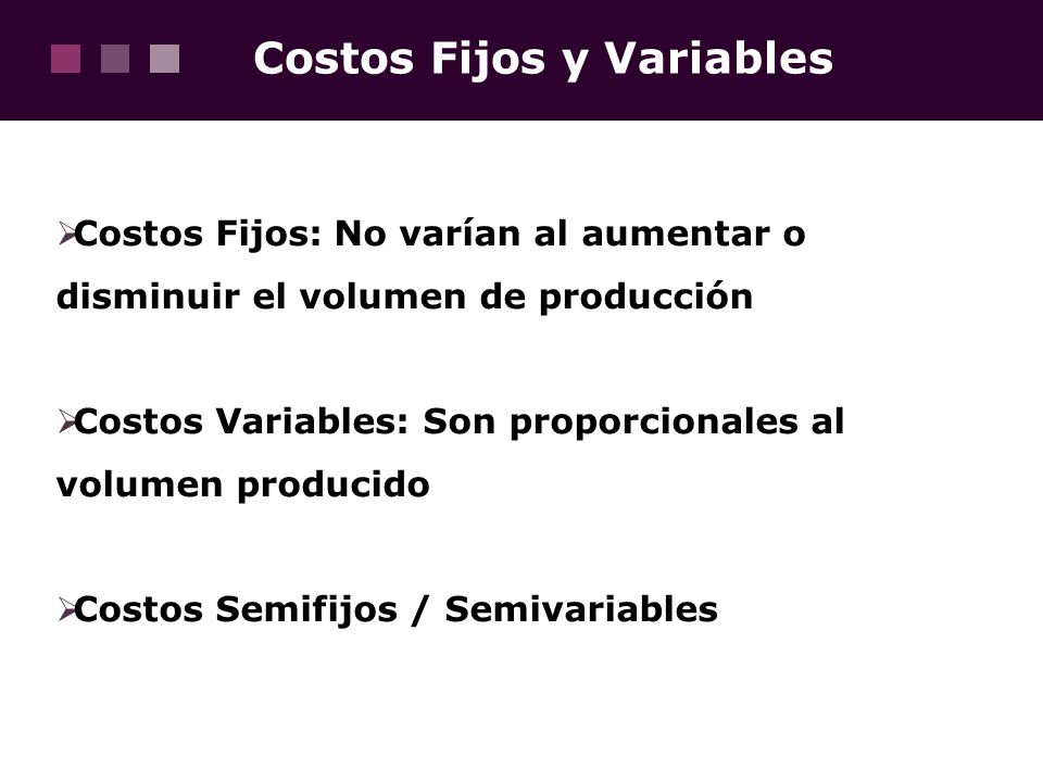 Costos Fijos y Variables