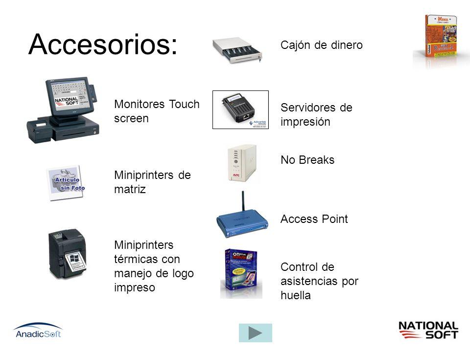 Accesorios: Cajón de dinero Monitores Touch screen