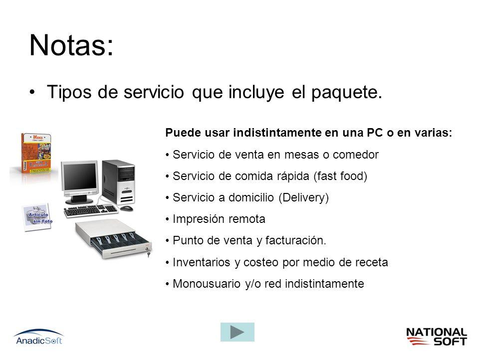 Notas: Tipos de servicio que incluye el paquete.