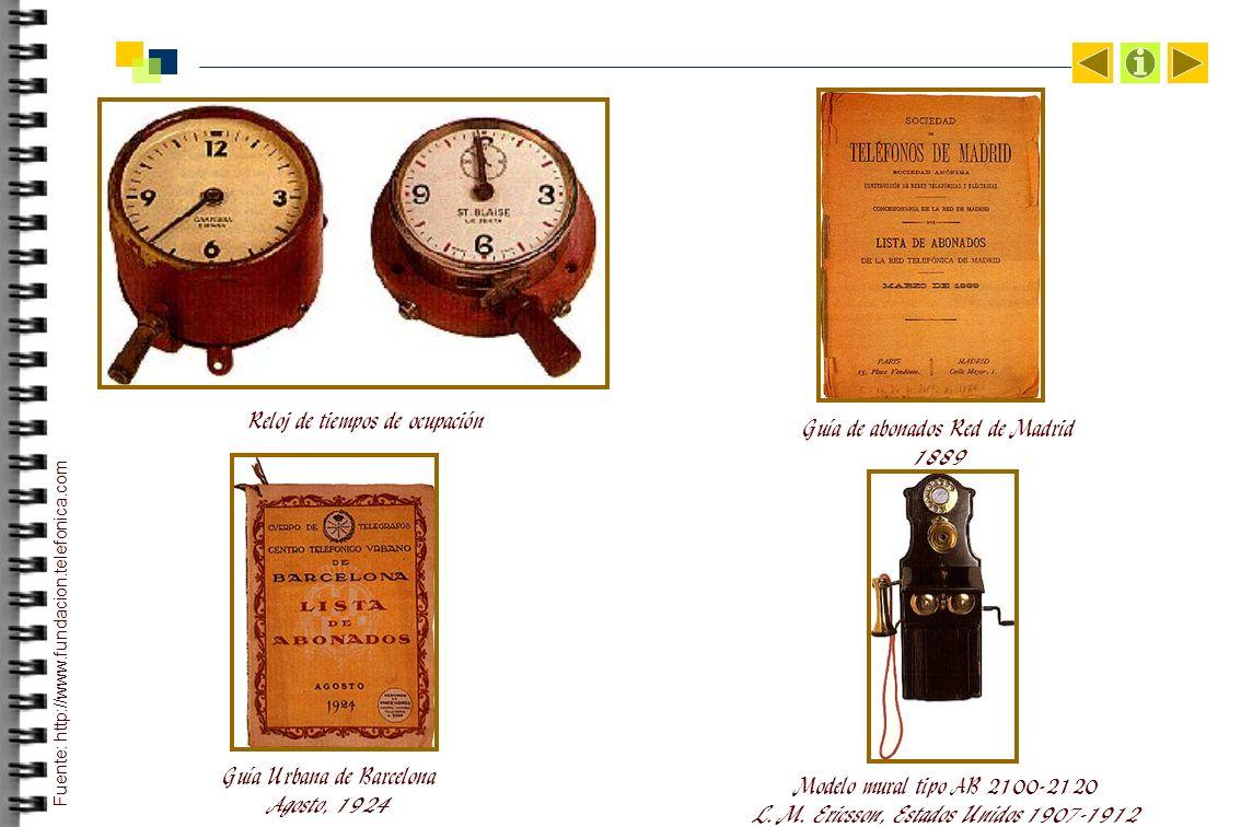 Reloj de tiempos de ocupación Guía de abonados Red de Madrid 1889