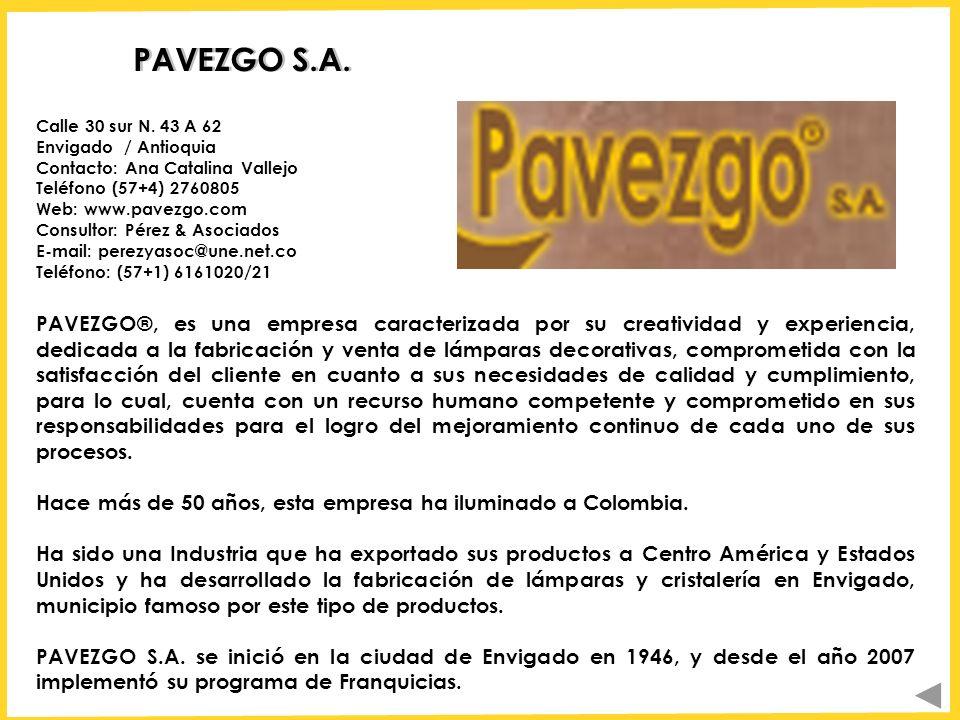 PAVEZGO S.A. Calle 30 sur N. 43 A 62 Envigado / Antioquia Contacto: Ana Catalina Vallejo. Teléfono (57+4) 2760805.