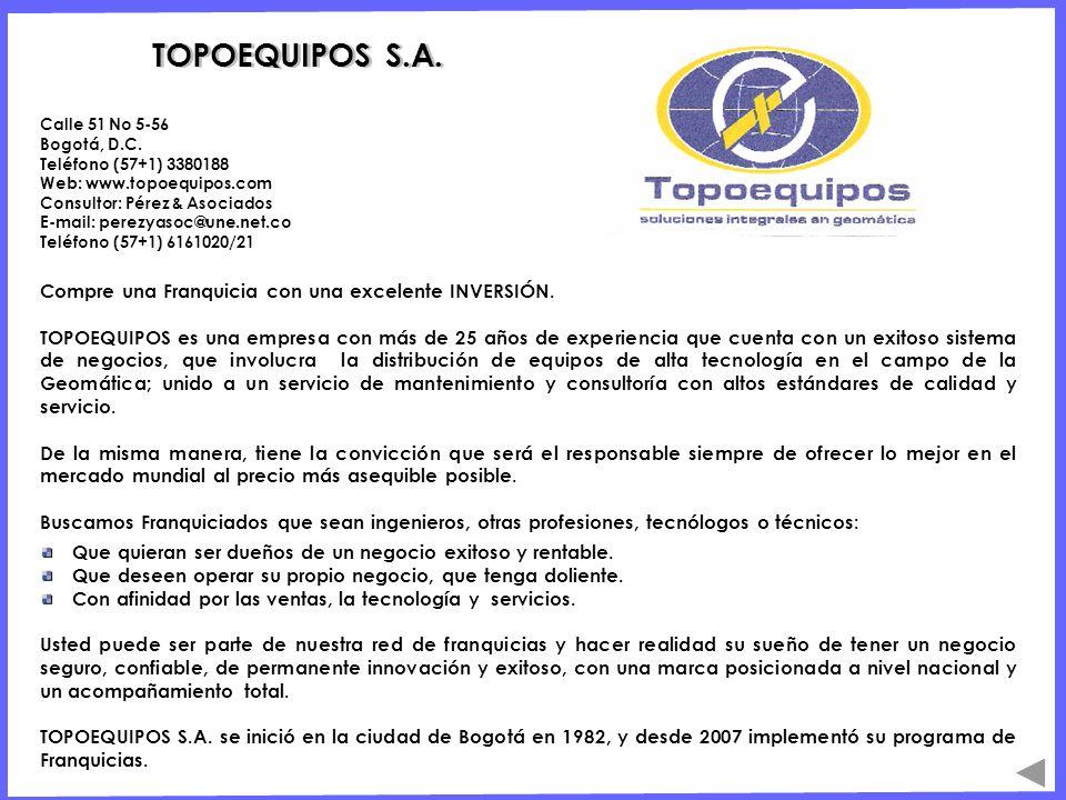 TOPOEQUIPOS S.A. Compre una Franquicia con una excelente INVERSIÓN.