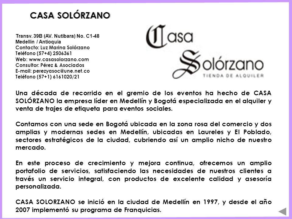 CASA SOLÓRZANO Transv. 39B (AV. Nutibara) No. C1-48 Medellín / Antioquia Contacto: Luz Marina Solórzano.