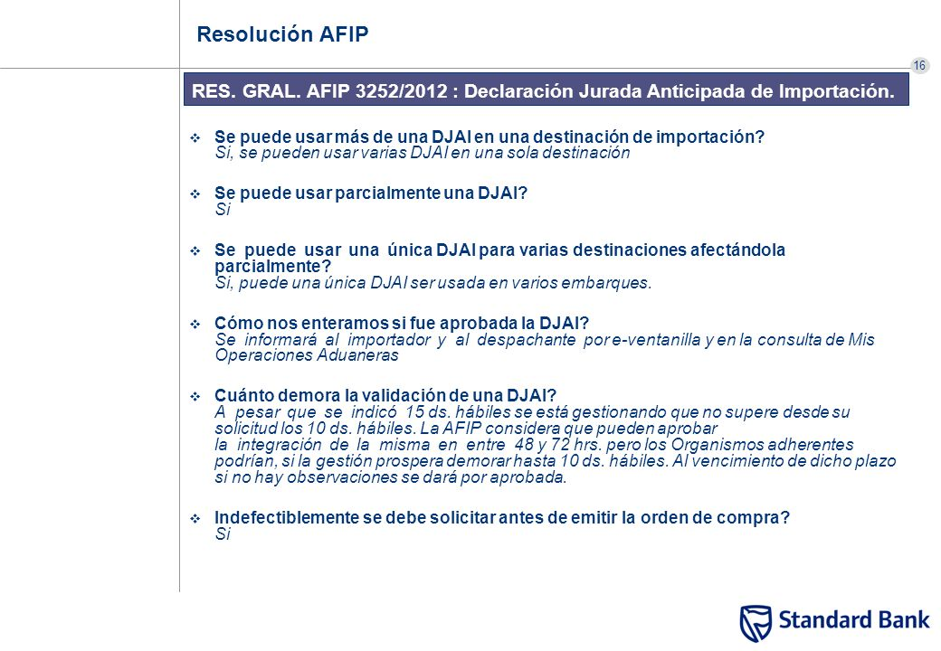 Resolución AFIP RES. GRAL. AFIP 3252/2012 : Declaración Jurada Anticipada de Importación.