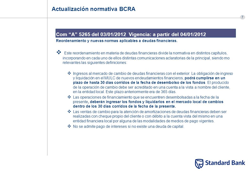 Actualización normativa BCRA