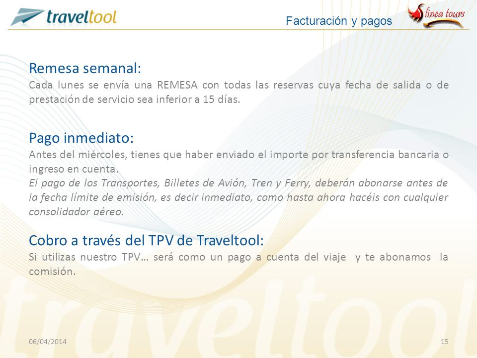 Cobro a través del TPV de Traveltool: