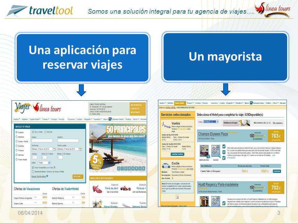 Una aplicación para reservar viajes