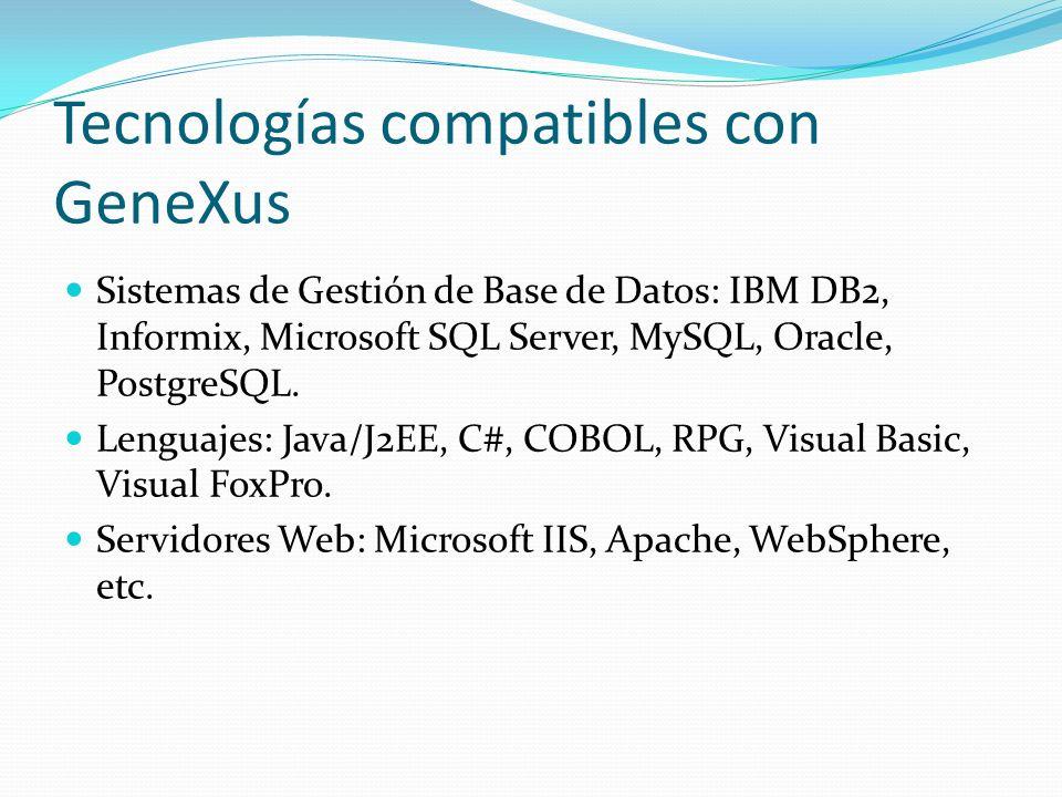 Tecnologías compatibles con GeneXus