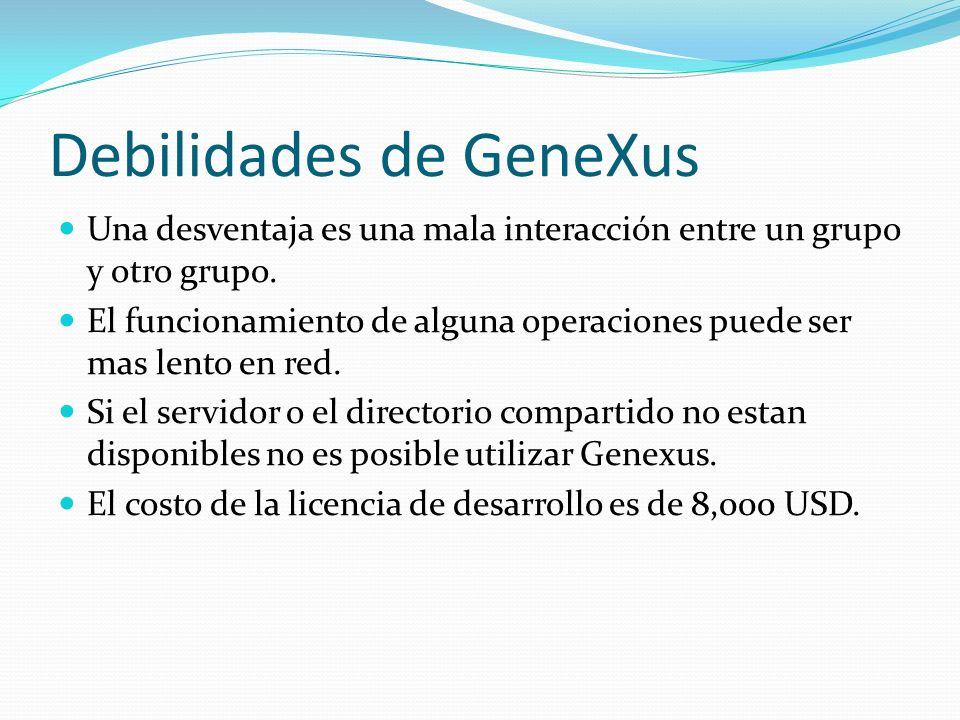 Debilidades de GeneXus