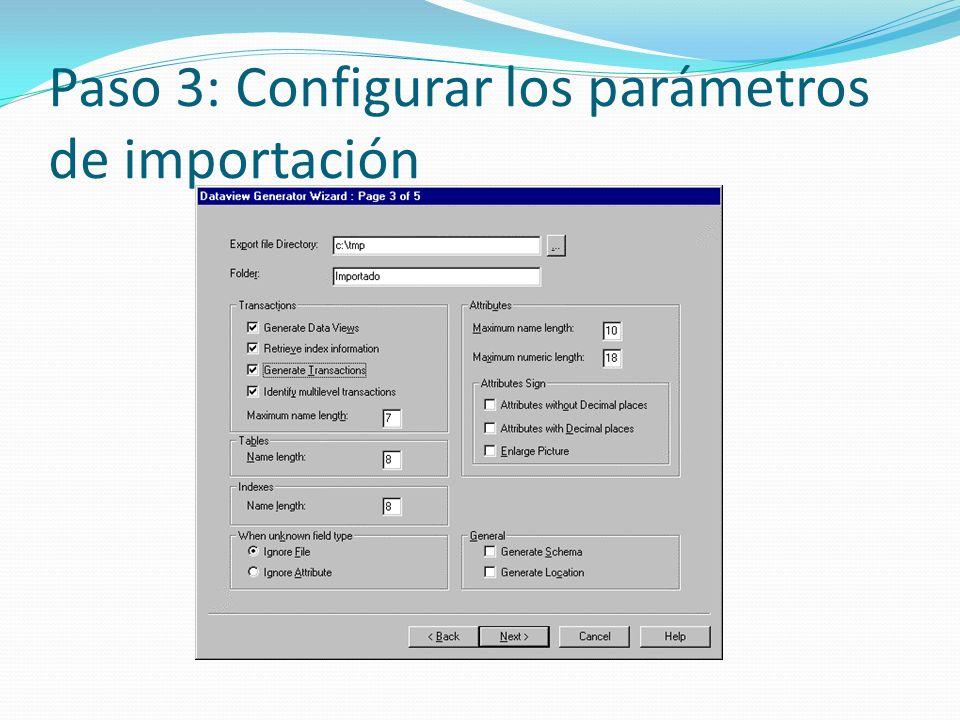 Paso 3: Configurar los parámetros de importación