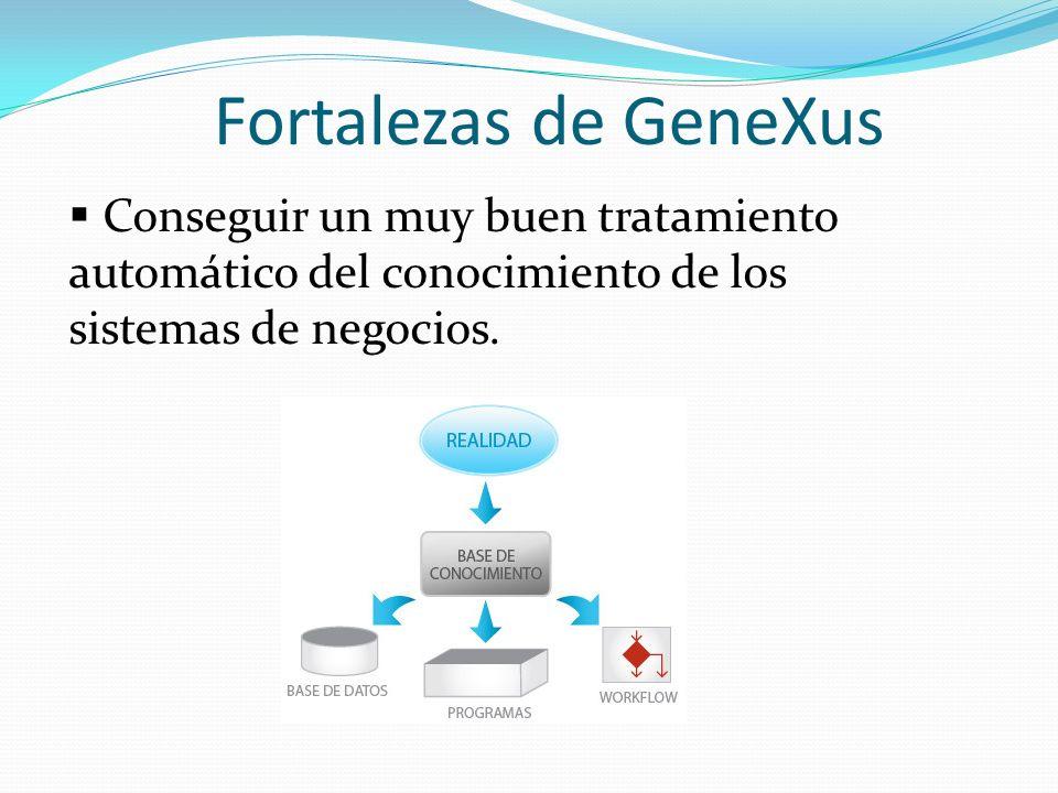 Fortalezas de GeneXus Conseguir un muy buen tratamiento automático del conocimiento de los sistemas de negocios.
