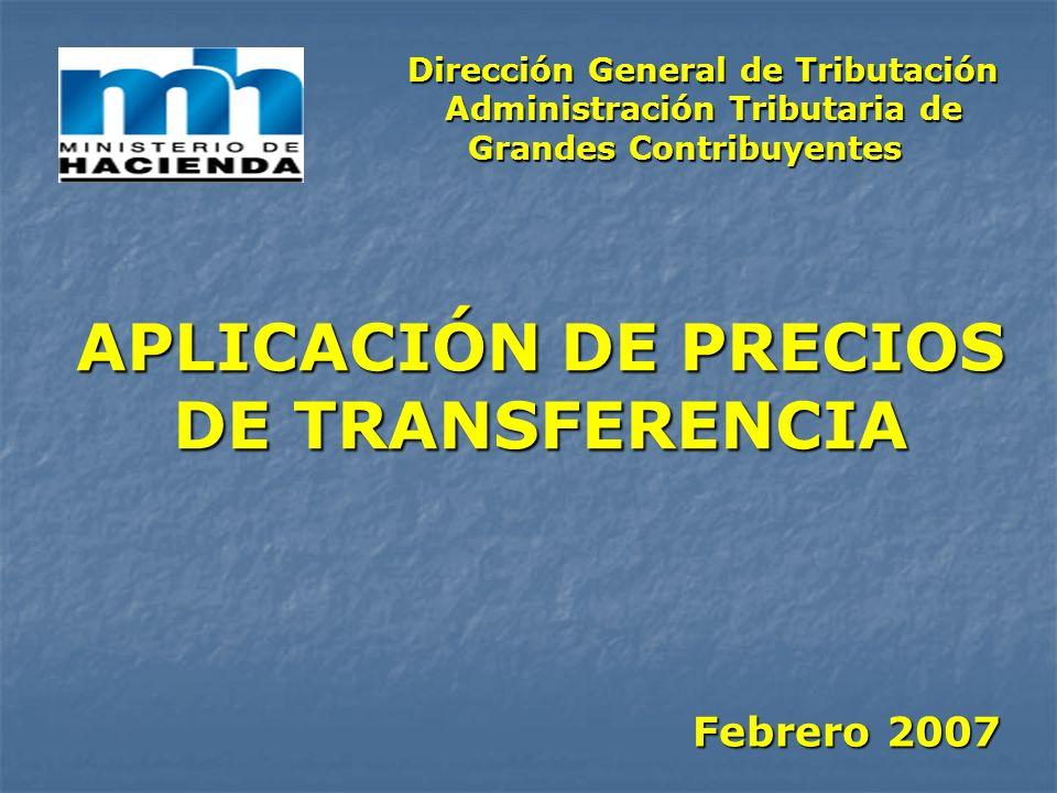APLICACIÓN DE PRECIOS DE TRANSFERENCIA