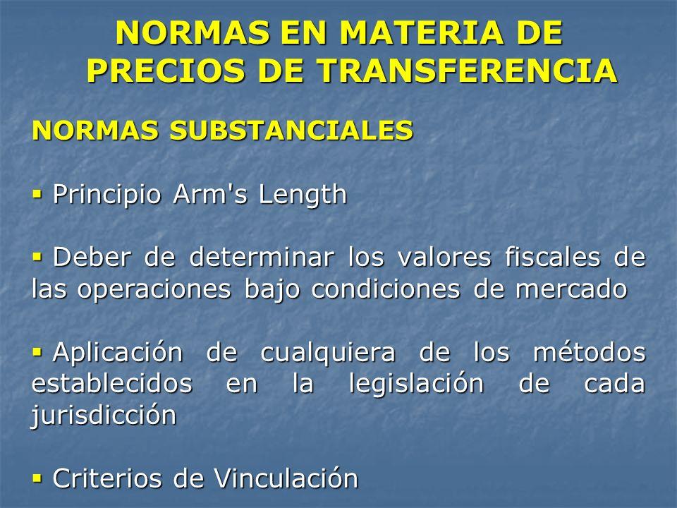 NORMAS EN MATERIA DE PRECIOS DE TRANSFERENCIA