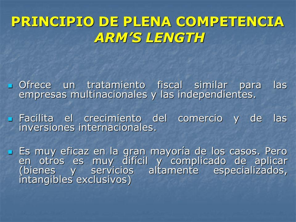 PRINCIPIO DE PLENA COMPETENCIA ARM'S LENGTH