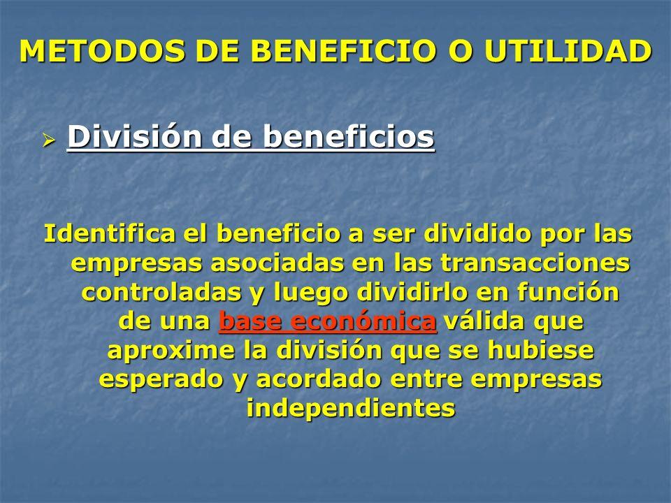 METODOS DE BENEFICIO O UTILIDAD