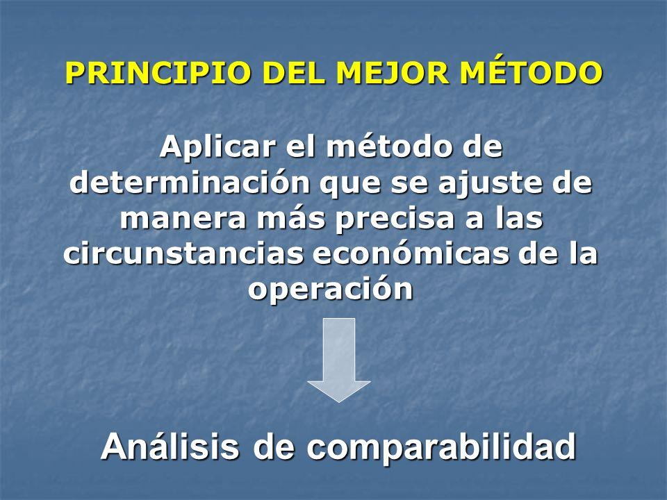 PRINCIPIO DEL MEJOR MÉTODO Análisis de comparabilidad