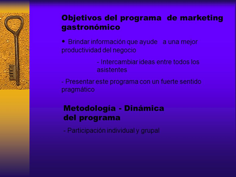 Objetivos del programa de marketing gastronómico