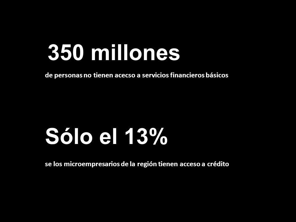 350 millones de personas no tienen acecso a servicios financieros básicos.