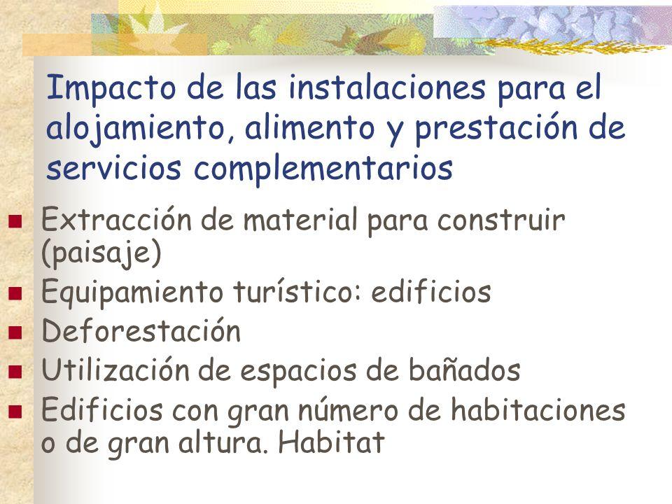 Impacto de las instalaciones para el alojamiento, alimento y prestación de servicios complementarios