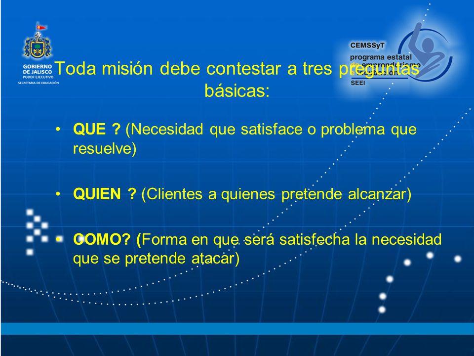 Toda misión debe contestar a tres preguntas básicas: