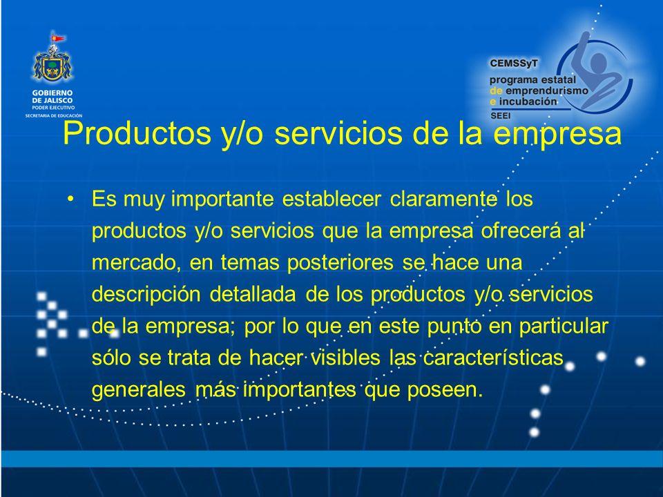 Productos y/o servicios de la empresa