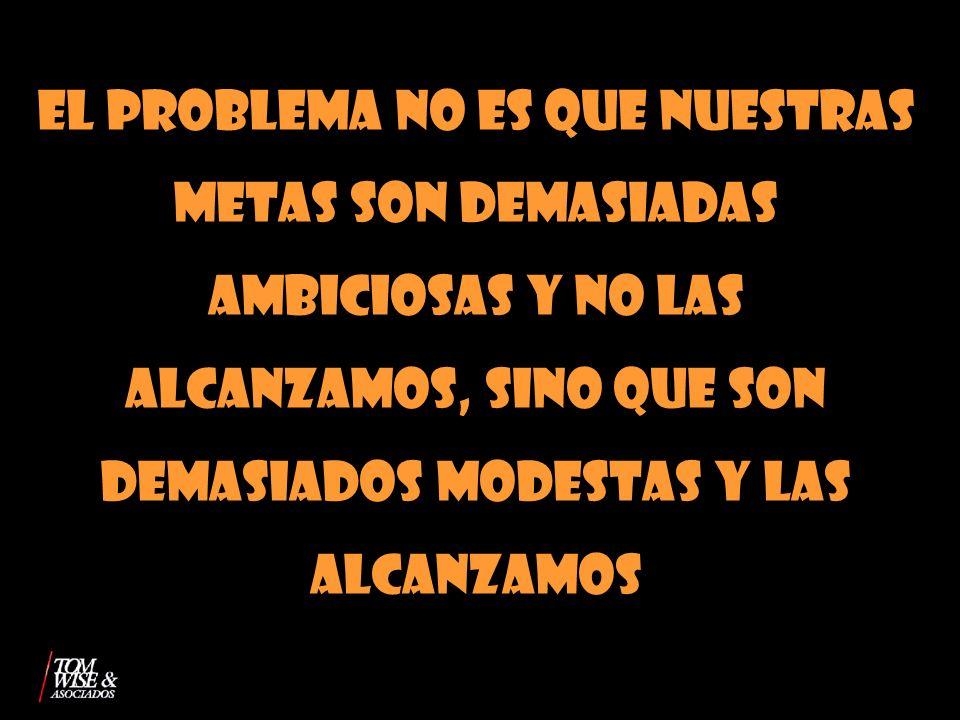 EL PROBLEMA NO ES QUE NUESTRAS METAS SON DEMASIADAS AMBICIOSAS Y NO LAS ALCANZAMOS, SINO QUE SON DEMASIADOS MODESTAS Y LAS ALCANZAMOS