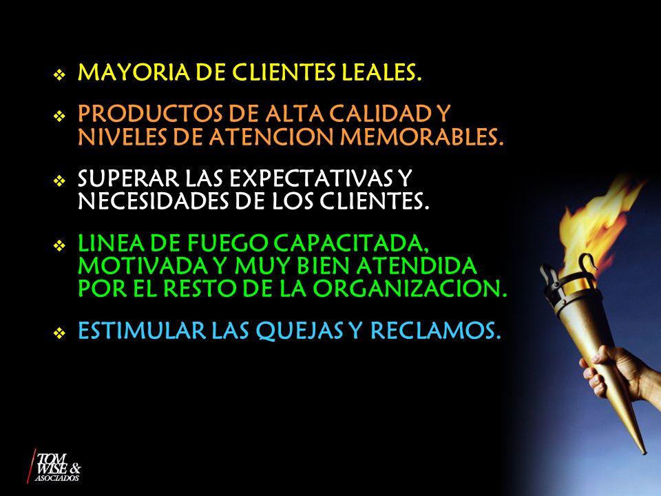 MAYORIA DE CLIENTES LEALES.