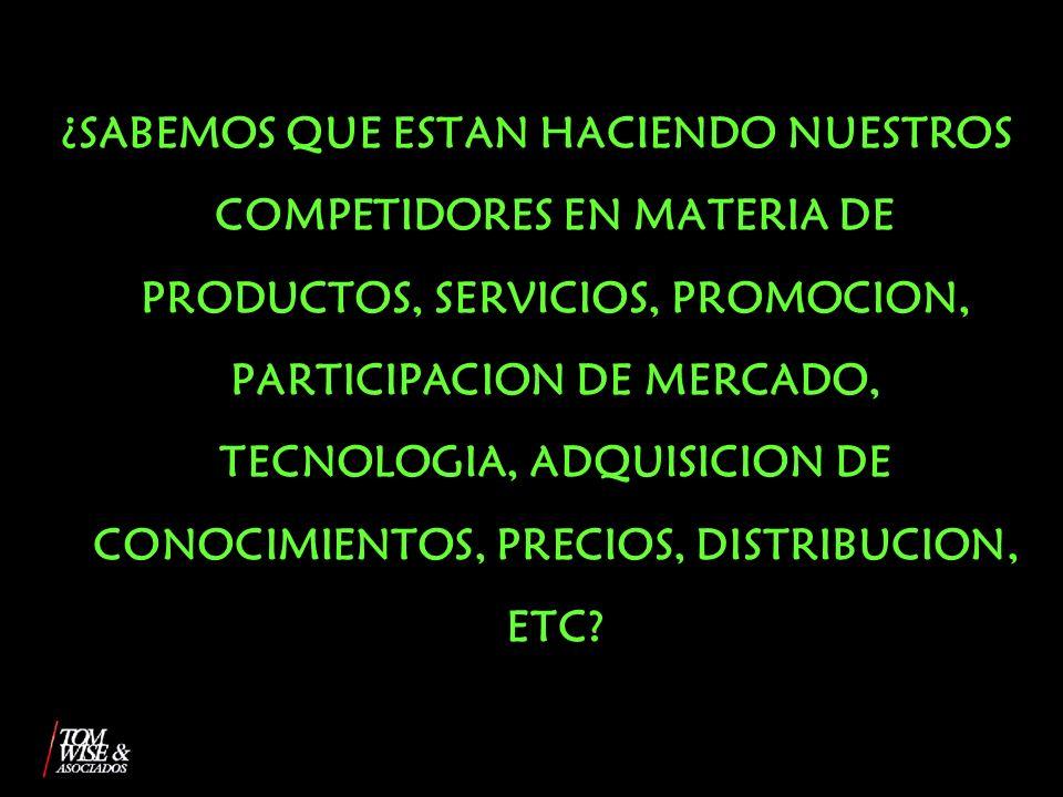 ¿SABEMOS QUE ESTAN HACIENDO NUESTROS COMPETIDORES EN MATERIA DE PRODUCTOS, SERVICIOS, PROMOCION, PARTICIPACION DE MERCADO, TECNOLOGIA, ADQUISICION DE CONOCIMIENTOS, PRECIOS, DISTRIBUCION, ETC