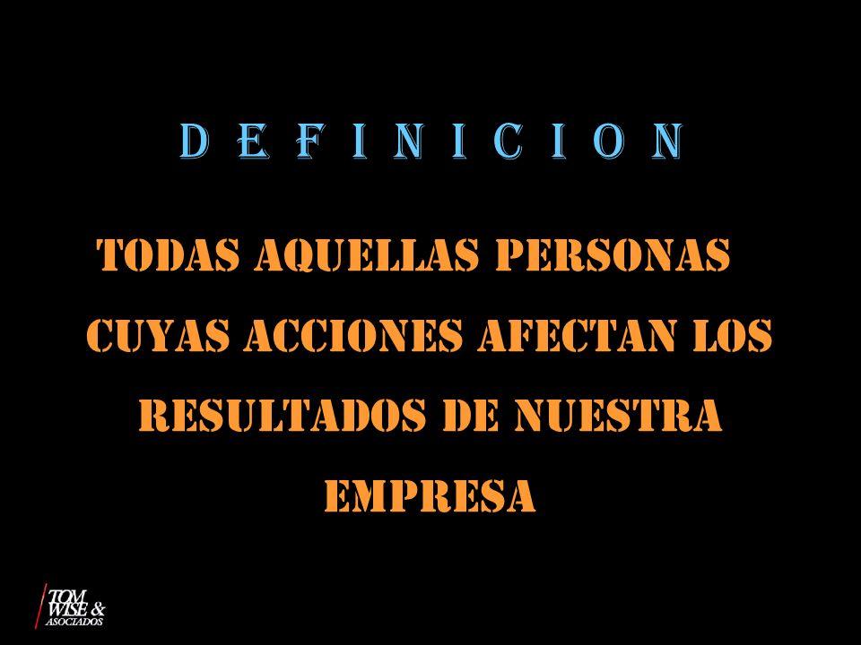 D E F I N I C I O N TODAS AQUELLAS PERSONAS CUYAS ACCIONES AFECTAN LOS RESULTADOS DE NUESTRA EMPRESA.