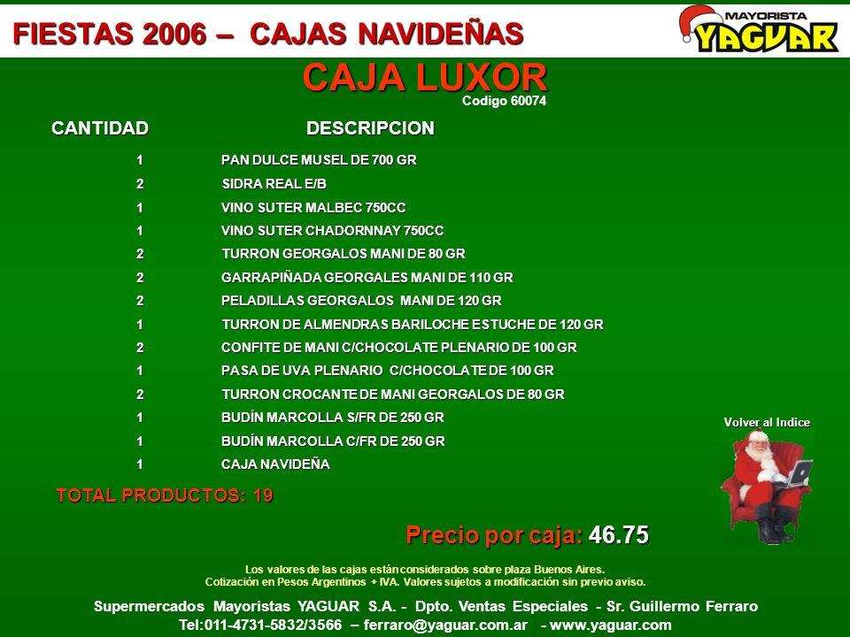 Los valores de las cajas están considerados sobre plaza Buenos Aires.