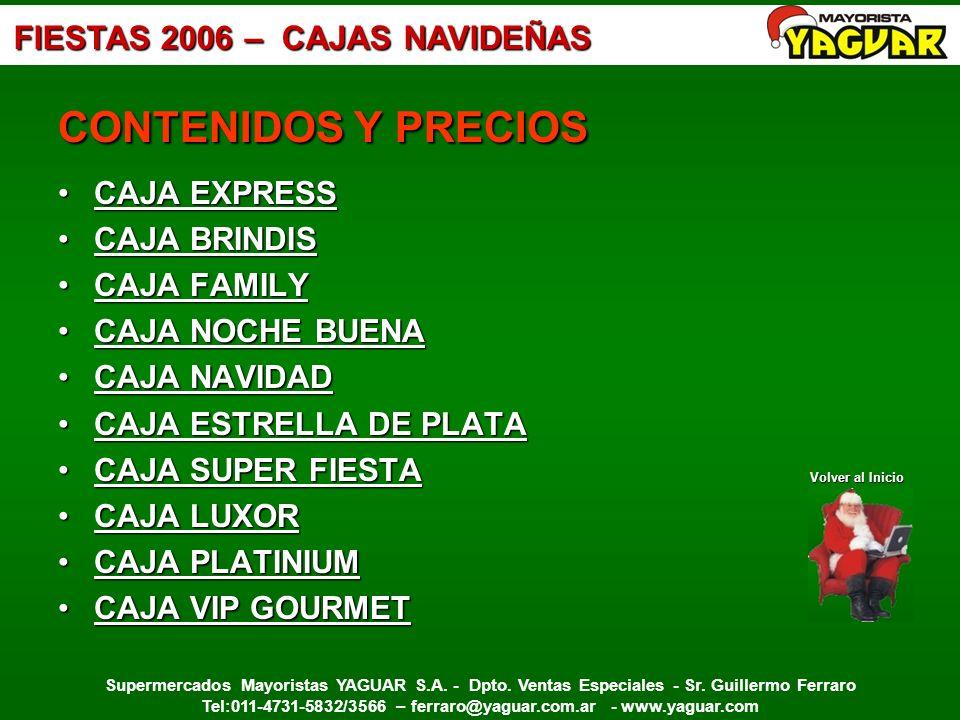 CONTENIDOS Y PRECIOS CAJA EXPRESS CAJA BRINDIS CAJA FAMILY