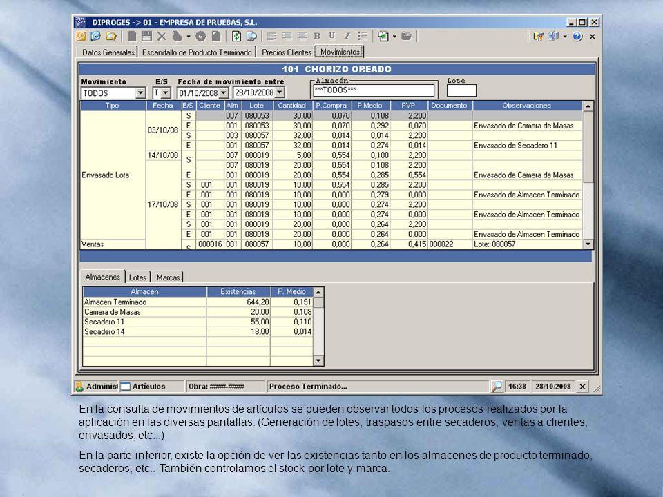En la consulta de movimientos de artículos se pueden observar todos los procesos realizados por la aplicación en las diversas pantallas. (Generación de lotes, traspasos entre secaderos, ventas a clientes, envasados, etc...)