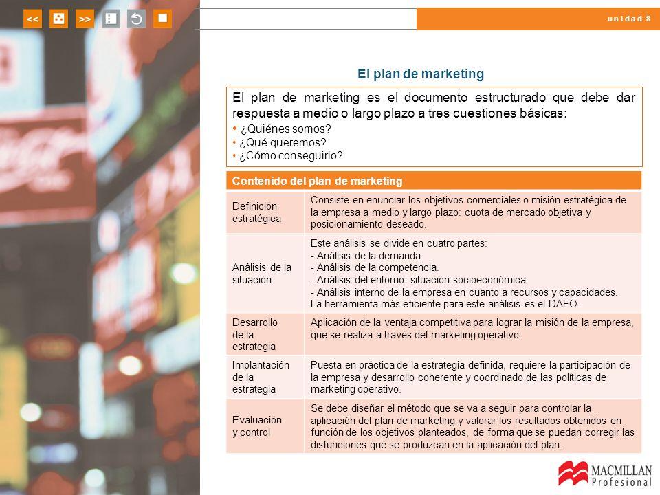 El plan de marketing El plan de marketing es el documento estructurado que debe dar respuesta a medio o largo plazo a tres cuestiones básicas: