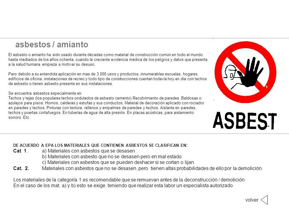 asbestos / amianto Cat 1. a) Materiales con asbestos que se desasen .