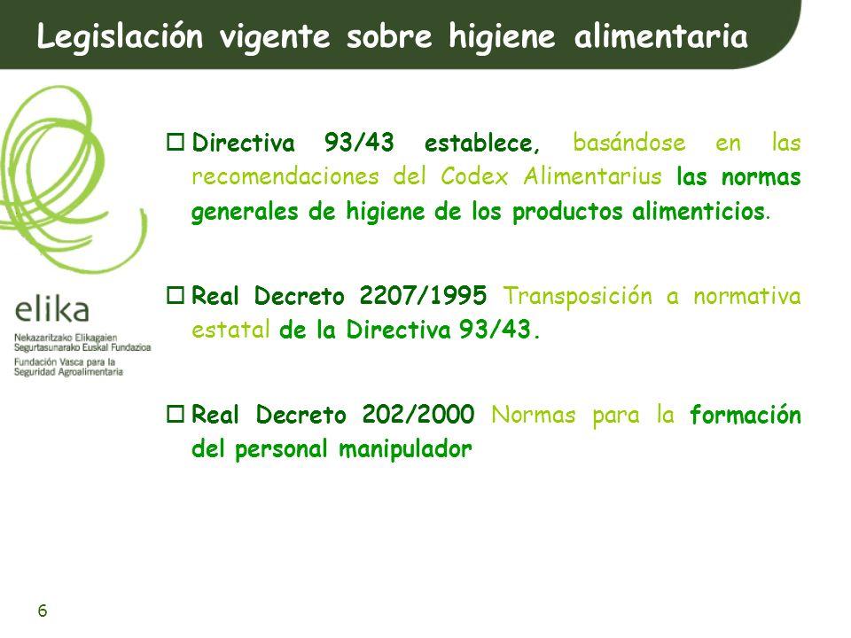 Legislación vigente sobre higiene alimentaria