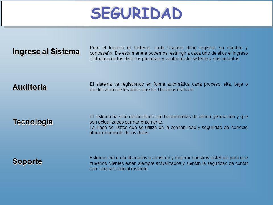 SEGURIDAD Ingreso al Sistema Auditoria Tecnología Soporte