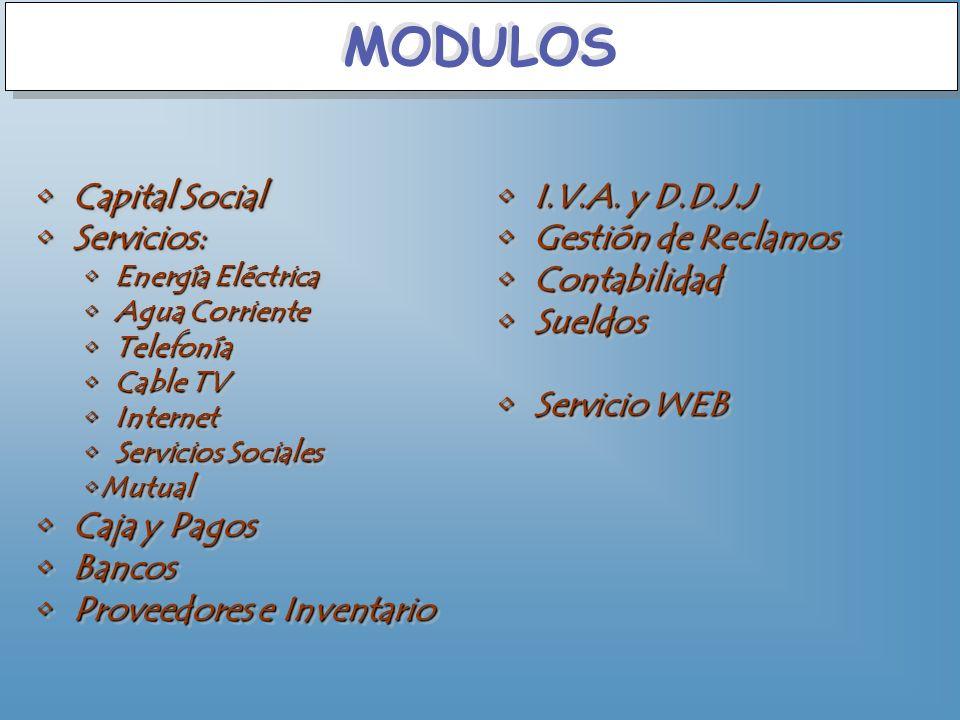 MODULOS Capital Social Servicios: Caja y Pagos Bancos