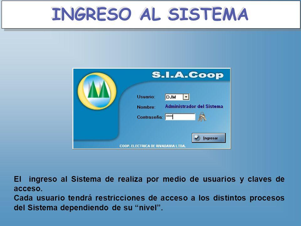 INGRESO AL SISTEMA El ingreso al Sistema de realiza por medio de usuarios y claves de acceso.