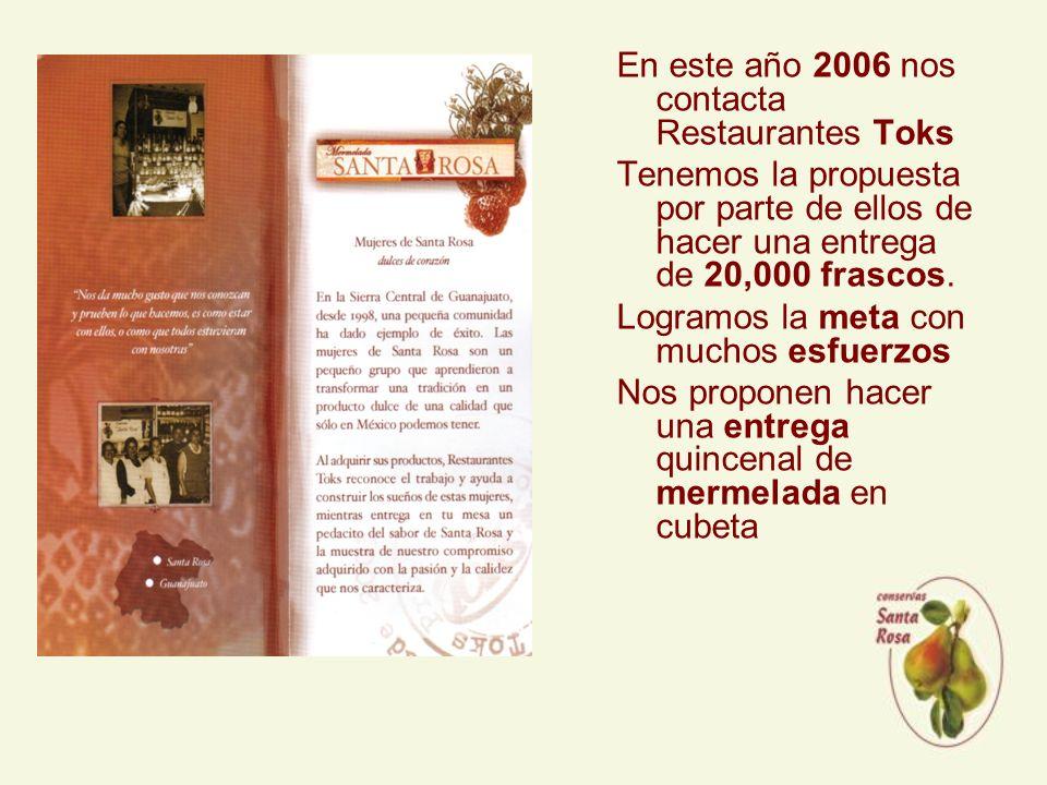 En este año 2006 nos contacta Restaurantes Toks